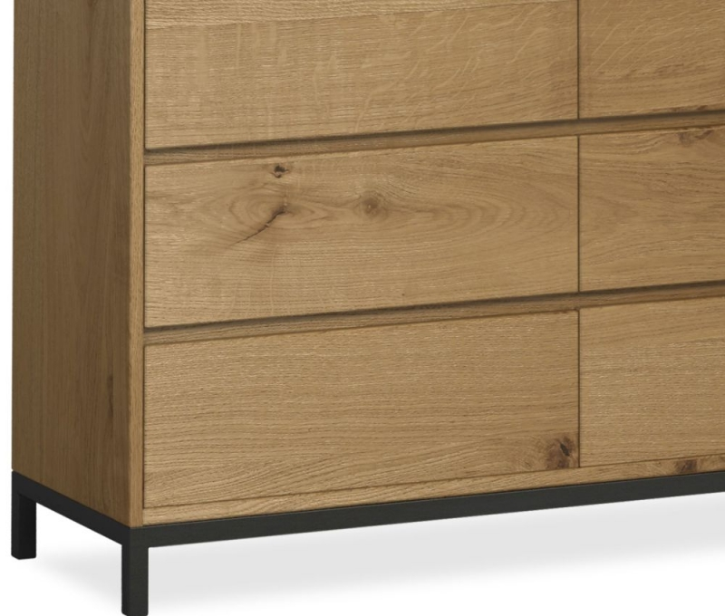 Corndell Oak Mill 6 Drawer Wide Chest - Oak and Metal