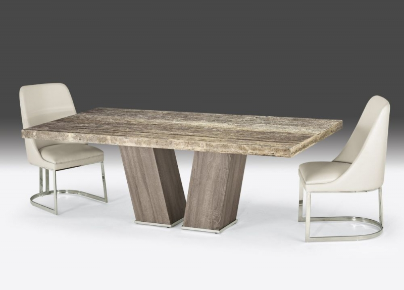 Stone International Vertigo Dining Table - Marble and Polished Stainless Steel