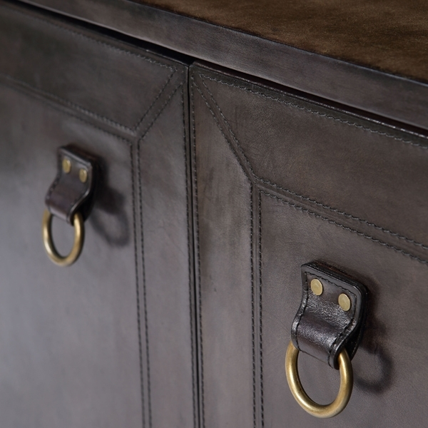 Cullinary Concept Panama Dark Grey Leather Bar Counter with Brass Top
