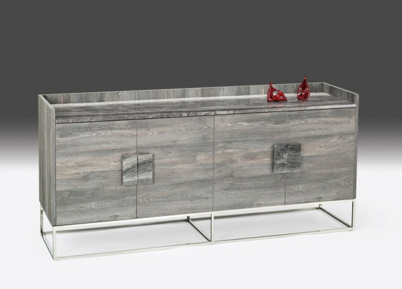 Stone International Tribeca Buffet - Marble and Polished Stainless Steel