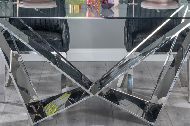 Urban Deco Jazz Dining Table - Glass and Stainless Steel Chrome