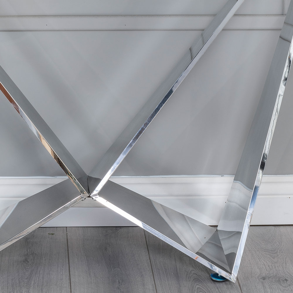 Urban Deco Jazz Console Table - Glass and Stainless Steel Chrome