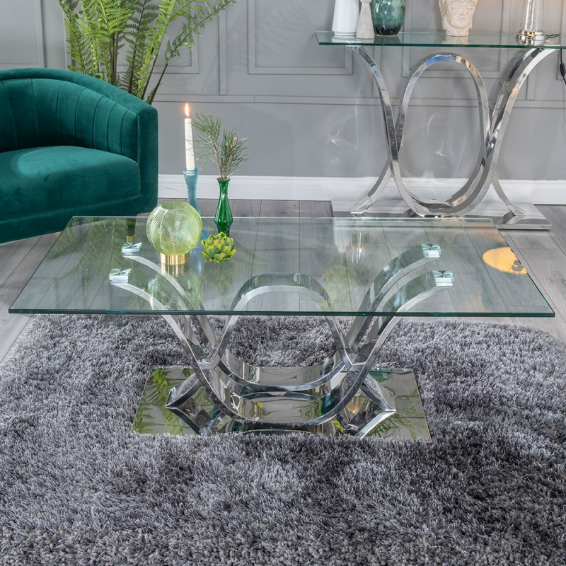 Urban Deco Wave Coffee Table - Glass and Stainless Steel Chrome