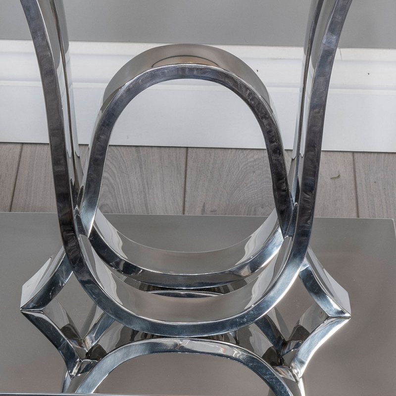 Urban Deco Wave Side Table - Glass and Stainless Steel Chrome