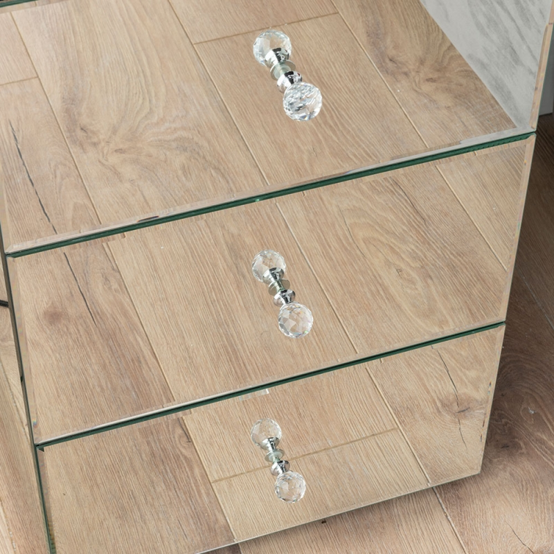 Chelsea Mirrored 3 Drawer Bedside Cabinet