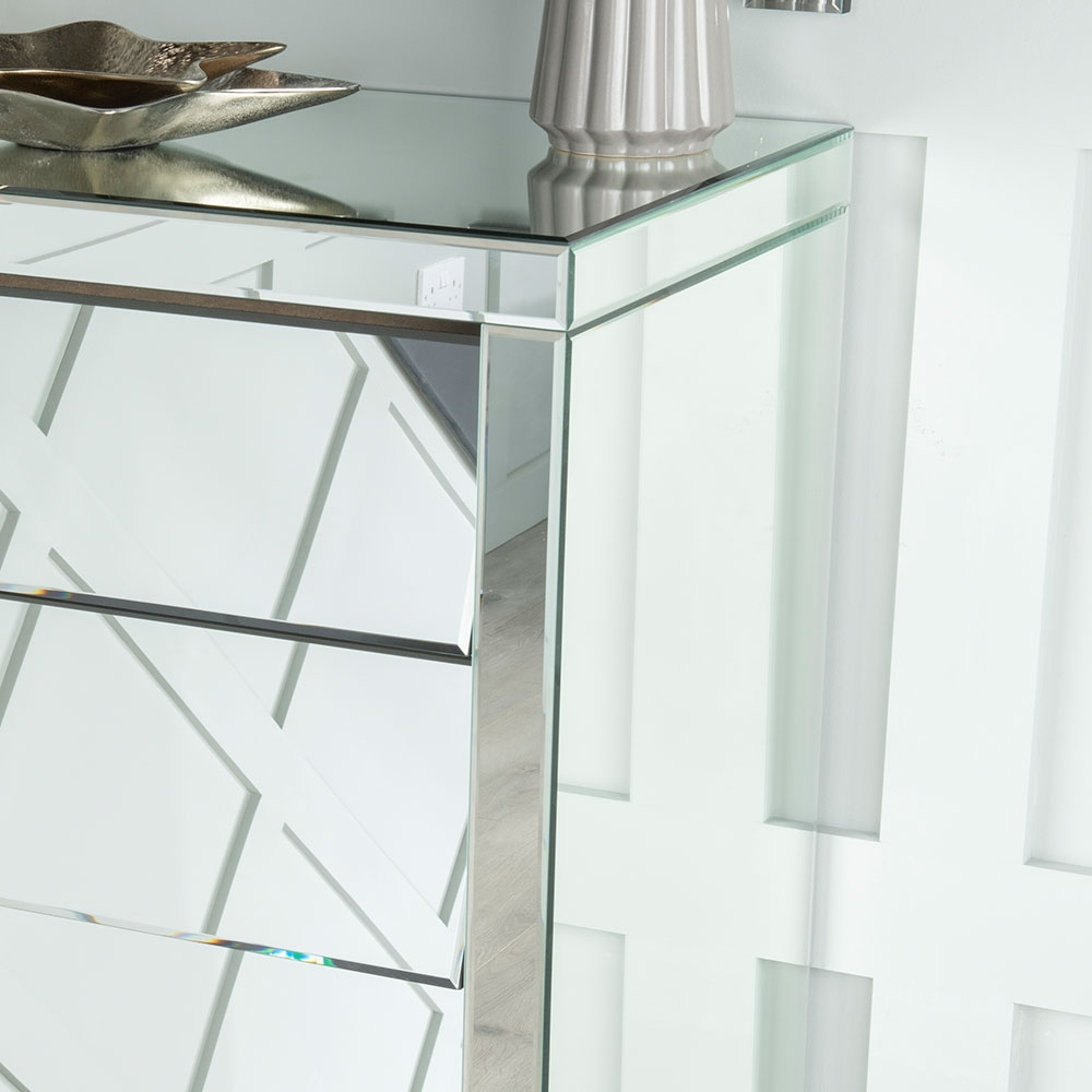 Urban Deco Angled Mirrored 5 Drawer Tall Boy Chest