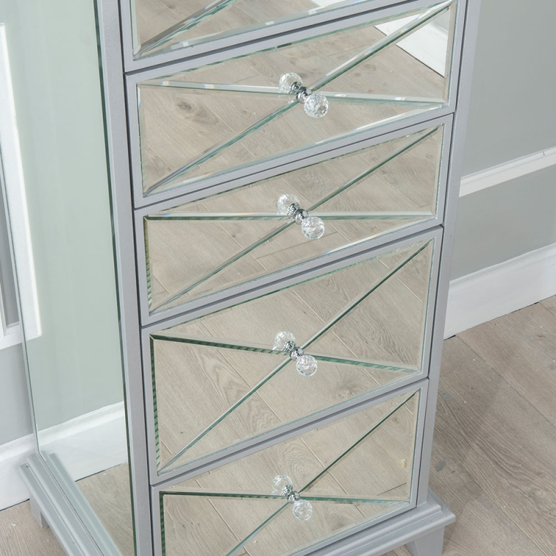 Urban Deco Mayfair Mirrored 5 Drawer Tall Chest