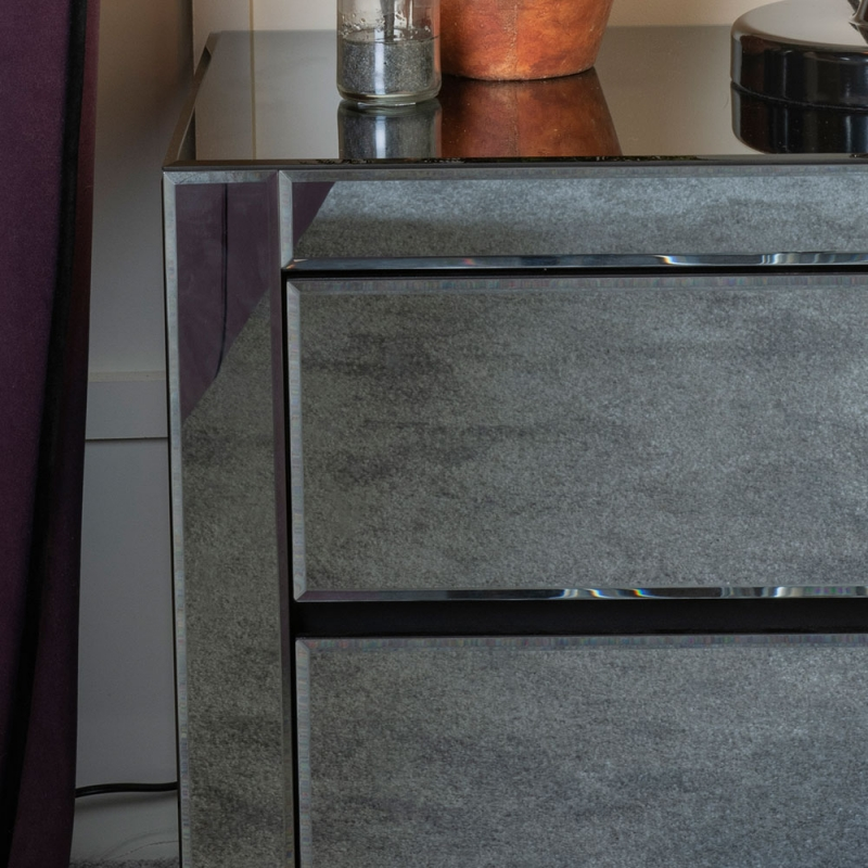 Urban Deco Moda Smoked Mirrored 2 Drawer Bedside Cabinet