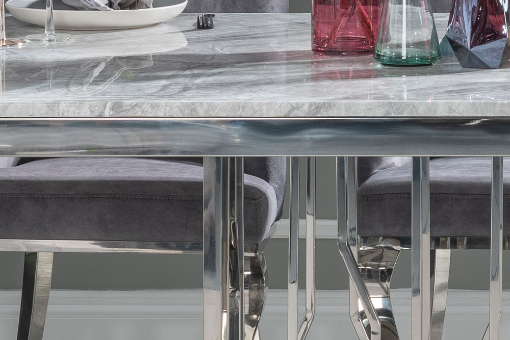 Urban Deco Vortex 8 Seater Dining Table - Grey Marble and Stainless Steel Chrome