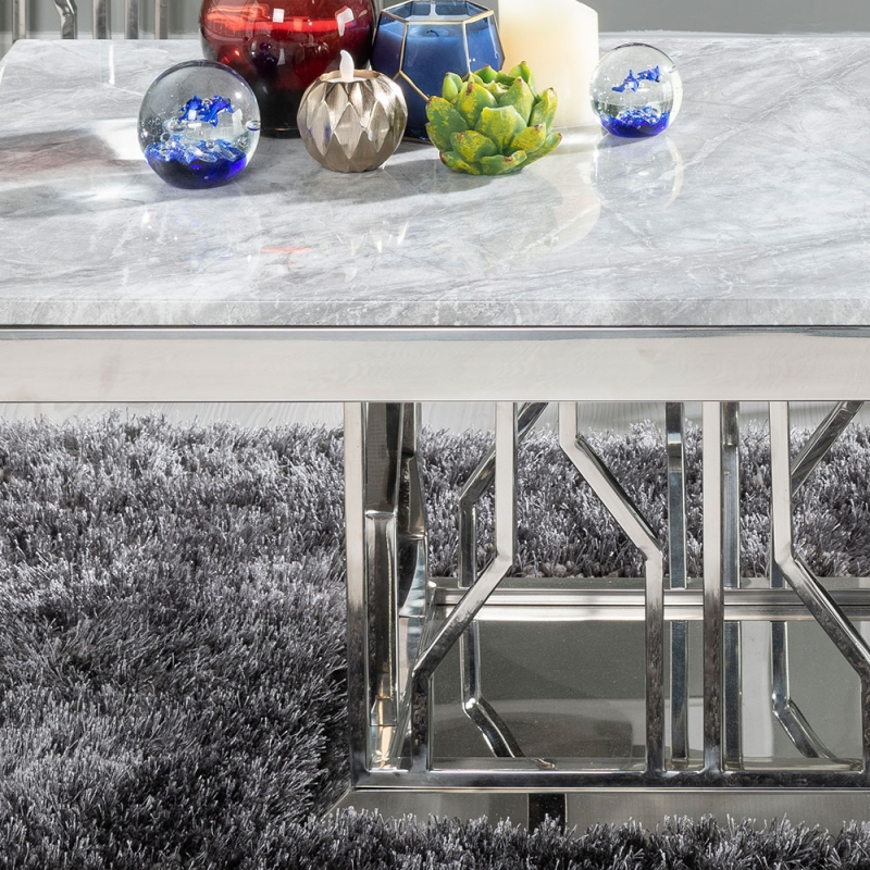 Urban Deco Vortex Coffee Table - Grey Marble and Stainless Steel Chrome