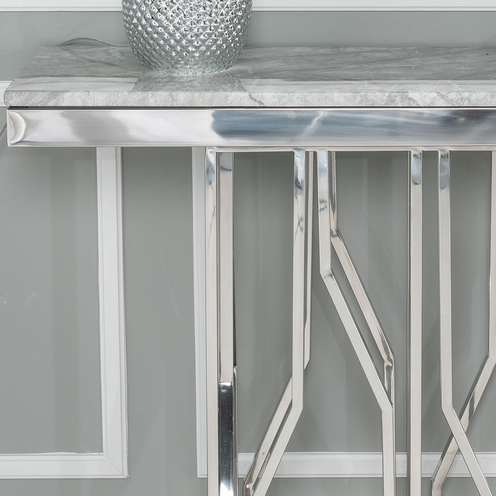 Urban Deco Vortex Console Table - Grey Marble and Stainless Steel Chrome
