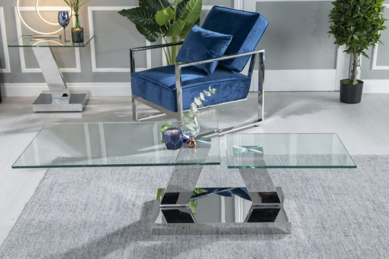 Urban Deco Fusion Glass and Chrome Rotating Coffee Table