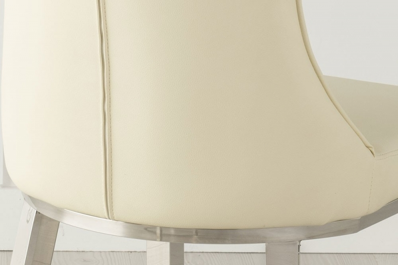 Urban Deco Maison White Faux Leather and Chrome Dining Chair