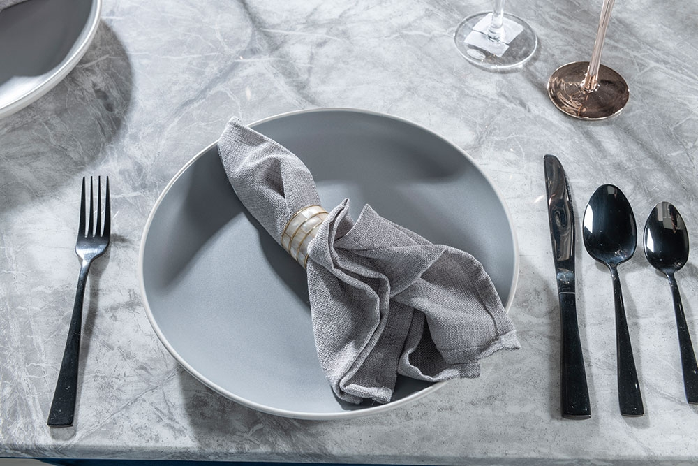 Urban Deco Orbit 200cm Grey Marble and Chrome Dining Table