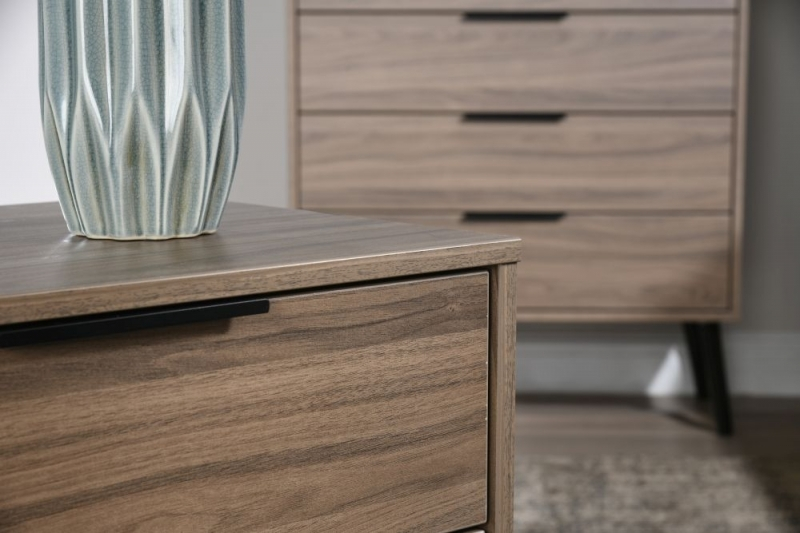 Clearance Half Price - Hong Kong Carini Walnut 3 Drawer Chest with Wooden Legs - New - D102