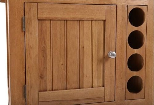 Evelyn Oak 2 Door 2 Drawer Small Granite Island with Wine Rack