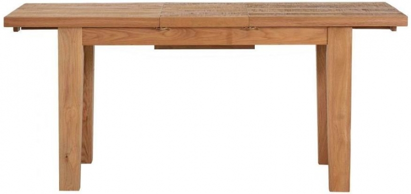 Vancouver Sawn Oak Extending Dining Table and 2 Timber Seat and 2 Grey Tartan Dining Chairs