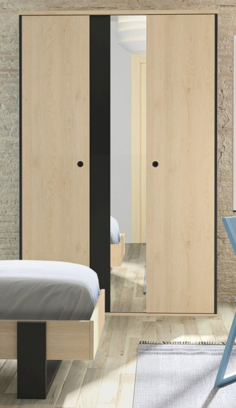 Gami Duplex 2 Door 1 Mirror Wardrobe - Natural Chestnut and Black Foil