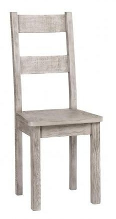 Vancouver Sawn Grey Washed Oak Dining Chair With Timber Seat (Pair)