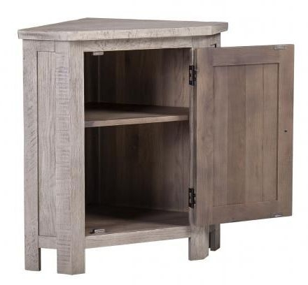 Vancouver Sawn Grey Washed Oak 1 Door Corner Lamp Table