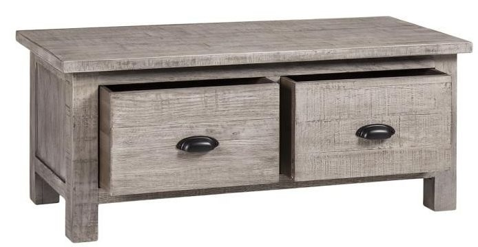 Vancouver Sawn Grey Washed Oak 2 Drawer Large Coffee Table