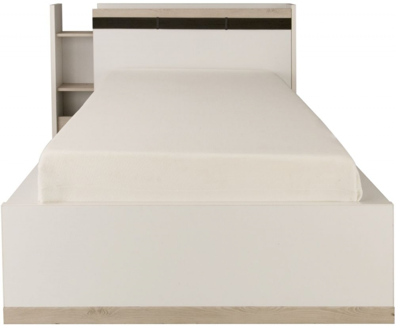 Gami Tiago Bed with Bookcase Headboard - White and Bleached Pine
