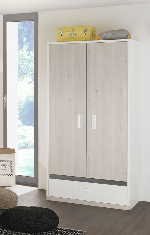 Gami Tiago 2 Door Wardrobe - White and Bleached Pine