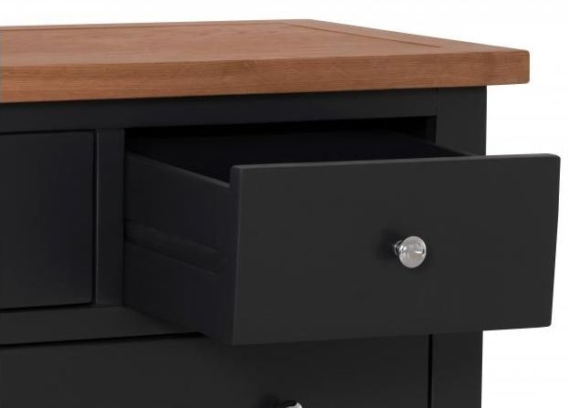 Vancouver Compact 2+3 Drawer Chest - Oak and Black Grey