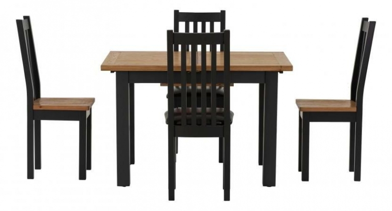 Vancouver Compact Extending Dining Table - Oak and Black Grey