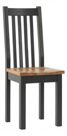 Vancouver Compact Dining Chair with Timber Seat - Oak and Black Grey (Pair)