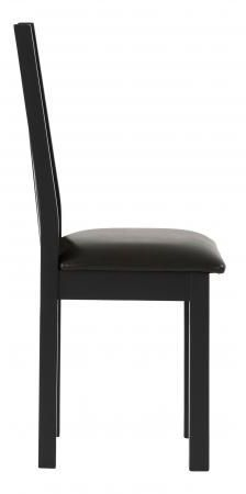 Vancouver Compact Dining Chair with Bi Cast Leather Seat - Oak and Black Grey (Pair)