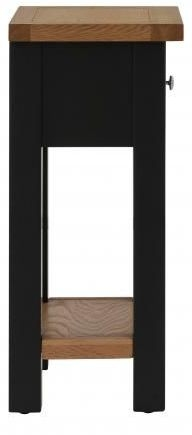 Vancouver Compact 1 Drawer Telephone Table - Oak and Black Grey