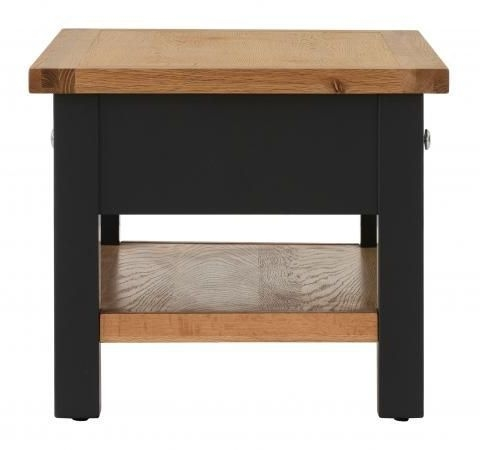 Vancouver Compact 2 Drawer Coffee Table - Oak and Black Grey