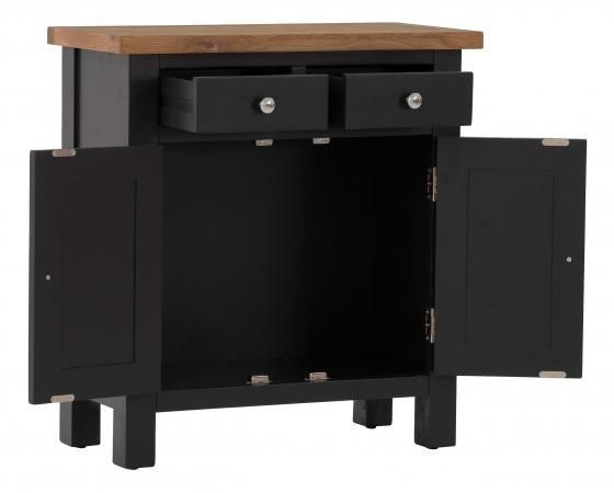 Vancouver Compact 2 Door 2 Drawer Small Sideboard - Oak and Black Grey