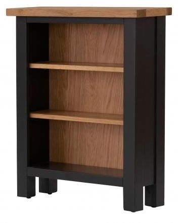 Vancouver Compact Low Bookcase - Oak and Black Grey