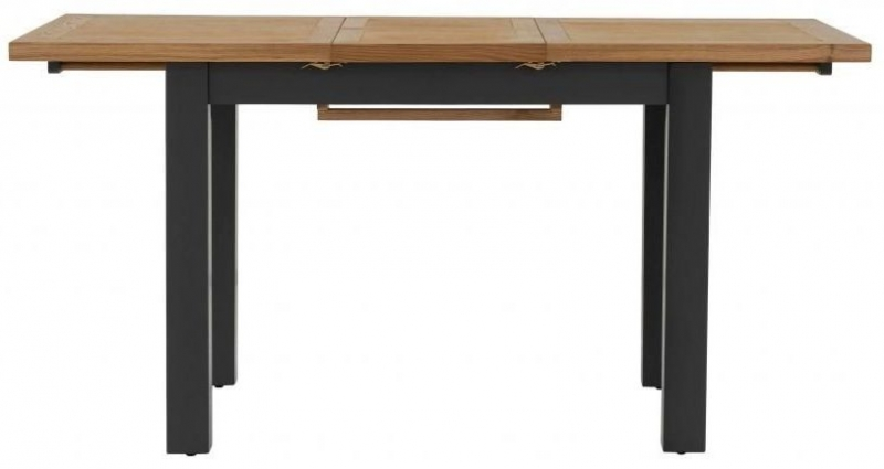 Vancouver Compact Extending Dining Table with 2 Timber Seat and 2 Leather Seat Dining Chairs - Oak and Black Grey