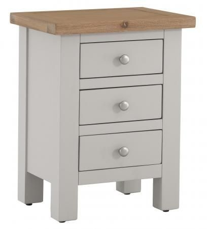 Vancouver Compact 3 Drawer Bedside Cabinet - Oak and Light Grey