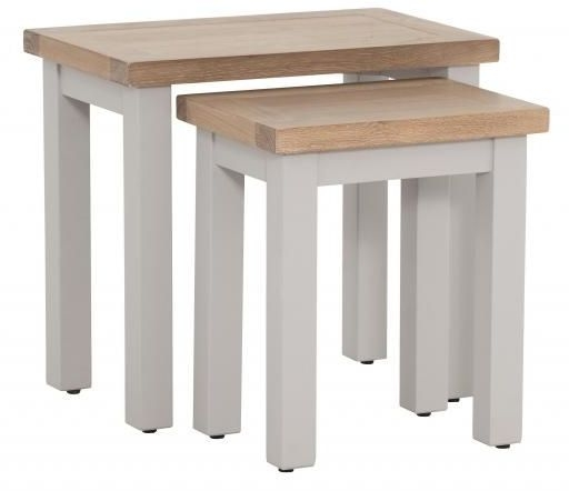 Vancouver Compact Nest of 2 Tables - Oak and Light Grey