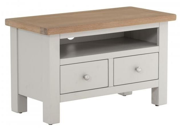 Vancouver Compact 1 Drawer TV Unit - Oak and Light Grey