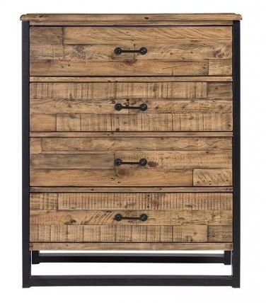 Urban Loft Reclaimed Pine Industrial 4 Drawer Chest