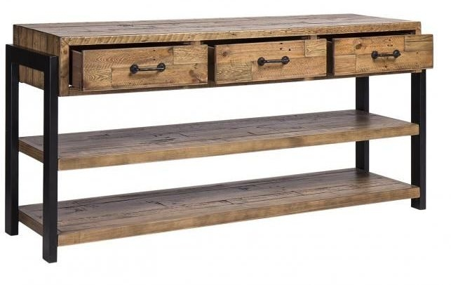 Urban Loft Reclaimed Pine Industrial 3 Drawer Buffet