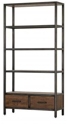 Forge Old Oak Industrial 2 Drawer Bookcase