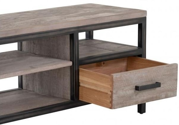 Forge Weathered Oak Industrial 2 Drawer Large TV Unit
