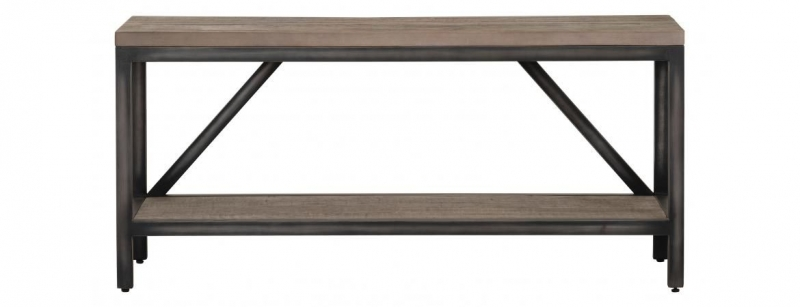 Forge Weathered Oak Industrial Hall Bench