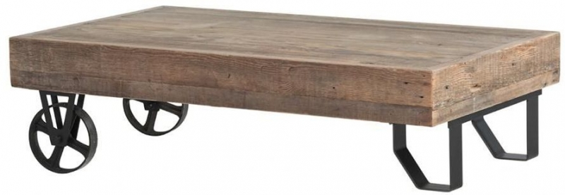 Cal Stadium Coffee Table with Wheels - Wood and Metal