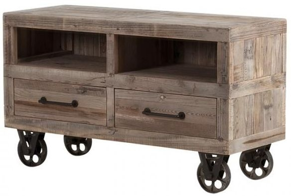 Cal Stadium Wooden 2 Drawer TV Unit with Wheels
