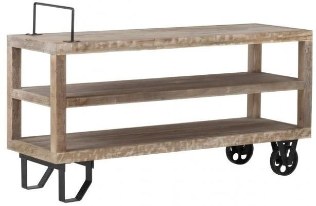Cal Stadium TV Unit with Wheels - Wood and Metal
