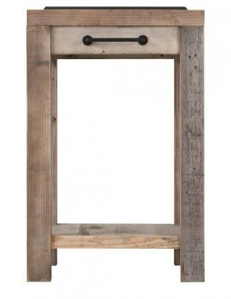 Cal Stadium Wooden Small Work Bench with Granite Top and Hooks