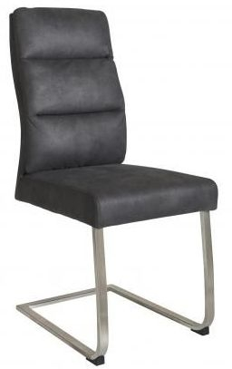 Dark Grey Faux Leather Dining Chair (Pair)