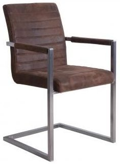 Brown Suedette Fabric Dining Chair (Pair)